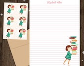 Personalized Stationery - Mini Letter Writing Set - Library Girl 3 - Cute Kids Books Reading Librarian Teacher gift auburn red head