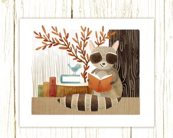 raccoon art print -- The Bookish Forest: Raccoon - forest nursery art illustration nursery print cute and whimsical woodland forest