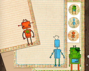 Cute Robot Personalized Stationery Set - Robots Mini Letter Writing Set - Kids Stationery boy gift robot toy