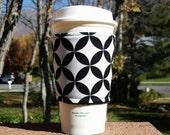 FREE SHIPPING UPGRADE with minimum -  Fabric coffee cozy / cup sleeve / coffee sleeve  / teacher gift / Black + White Geometric