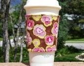 Fabric coffee cozy / cup sleeve / coffee sleeve / cup cozy / Pink Watercolor Pansies on Brown