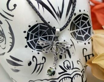 Woodland Fairy Tabac Swarovski Rivoli Pendant Necklace Braided Black Unisex