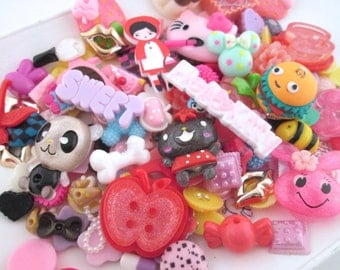 50pc  decoden kawaii cabochons, assorted mix grab bag of cuteness