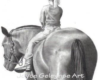 Horse Riding Pencil Drawing, Art Print, Equine Art Horseback Riding, Girl on Horseback, Realism Drawing, WHOA Team,
