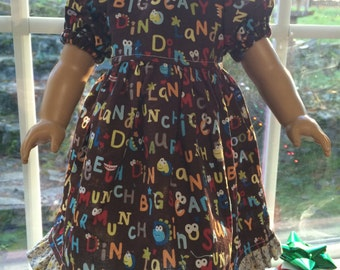 American Girl Doll Clothes - Brown Monster Words Dress for 18 inch Dolls