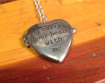 i carry your heart with me Locket Necklace. ee cummings