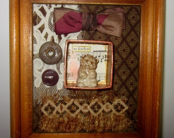 Framed Assemblage Altered Art ...So Fearless