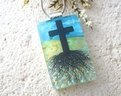 Blue Sky, Cross With Roots, Religious Necklace, Rooted Cross, Pendant,Fused Dichroic Glass Jewelry, Dichroic Glass Necklace, 030615p100