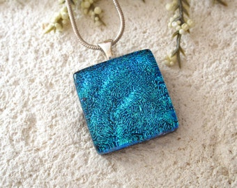 Blue Necklace, Dichroic Glass Jewelry, Blue Waves Pendant, Fused Glass Jewelry, Fused Glass Pendant, Dichroic Silver Necklace 041015p101