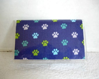 Business Card Holder Paw Prints Dog Cat Vinyl Mini Wallet