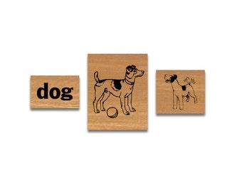 SALE Vintage Rubber Stamp Set Dog cavallini stamps cavallini rubber stamps