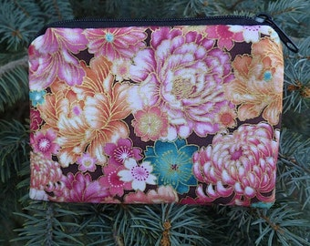 Japanese coin purse, credit card case, gift card pouch, Mums and Peonies, The Raven