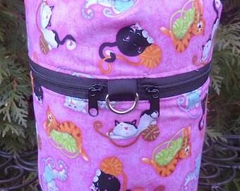 Cat knitting project bag, drawstring bag, knitting in public bag, small project bag, Yarney Cats,, Kipster