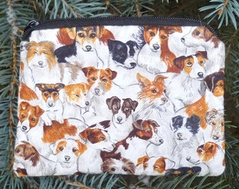 Terrier coin purse, stitch marker pouch, gift card pouch, credit card case,  The Raven