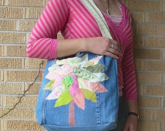 Upcycled Tote or Market Bag Spring Cherry Blossoms Tree Recycled Purse