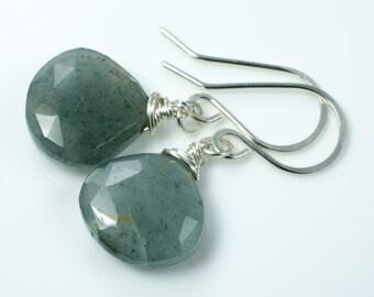 Moss Agate Faceted Heart Briolette Earrings in Sterling Silver