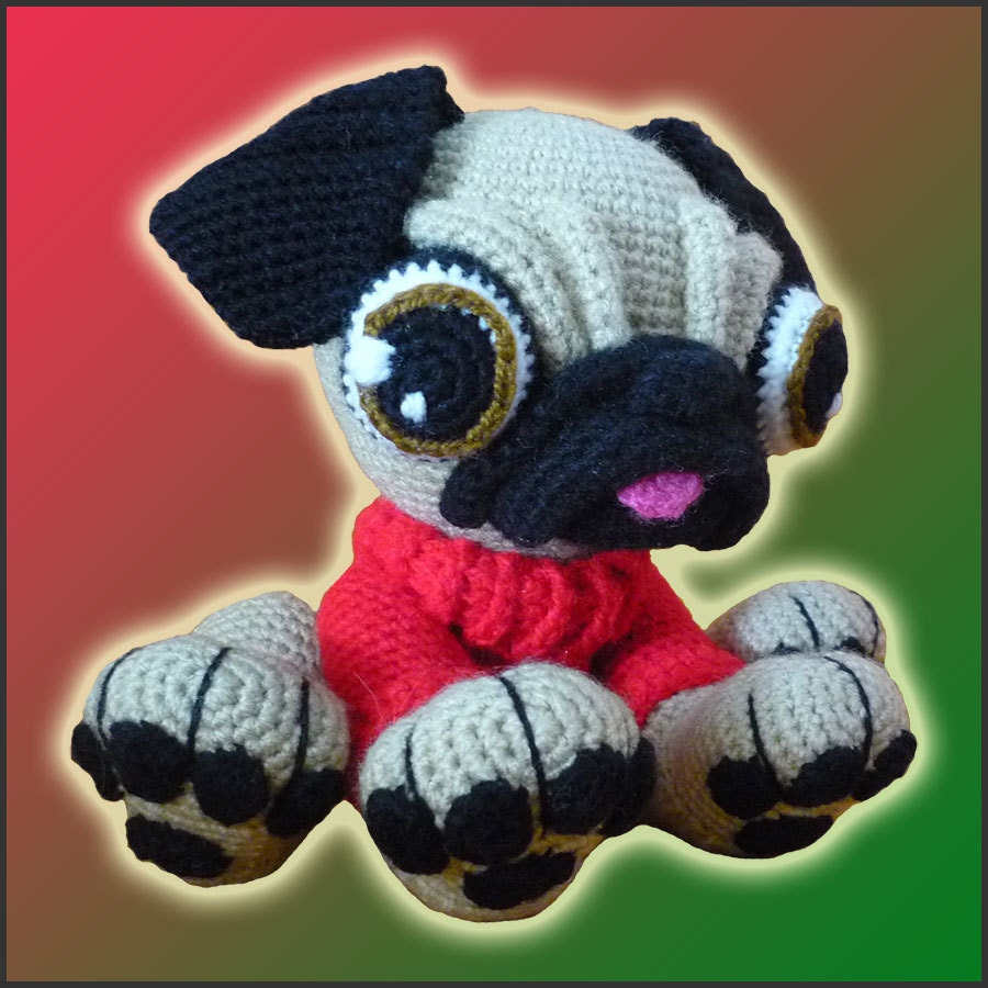 Amigurumi Flowers Free Patterns : Amigurumi Pattern Crochet Barry Pug Dog DIY by ...