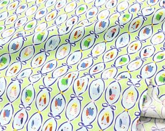 Japanese Fabric Kokka Trefle Budgies - green - 50cm