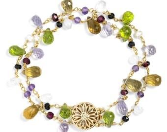 Multi-gemstone Double Strand Bracelet in 14k GF. Garnet, Peridot, Moonstone, Amethyst, Pearl, Spinel.