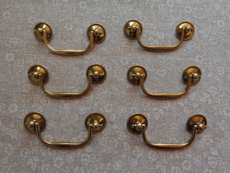 set of 6 new keeler brass antique brass finish cabinet bail