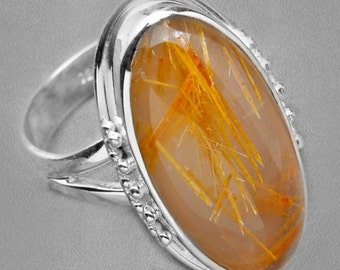 Sale: Sterling Silver and Golden Rutilated Quartz Ring Size 6.5