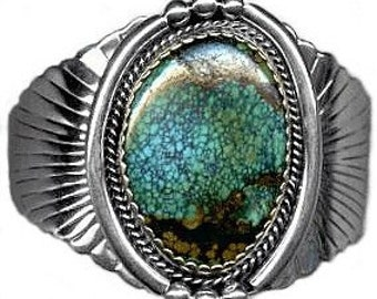 Navajo Turquoise and Sterling Silver Bracelet by R. Hoskie