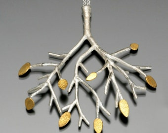 Sterling Silver Tree Pendant with 24k Gold Leaves - Heirloom Quality Art Jewelry - Recycled Mixed Metal Tree Branch Necklace - Made to Order