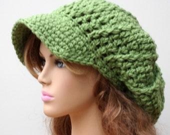 Newsboy cap, Tea Leaf Green Slouchy Newsboy Visor Dread Tam Hippie brimmed slouch billed beanie Hat