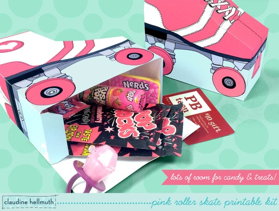 pink roller skates favor boxes fit gift cards by