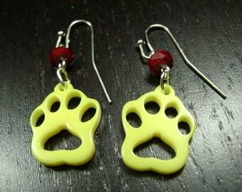 Paw Print Dangle Earrings in Yellow and Maroon