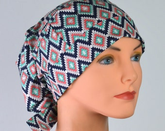 Scrub Hats // Scrub Caps // Scrub Hats for Women // The Hat Cottage // LARGE // Fabric Ties // Tribal