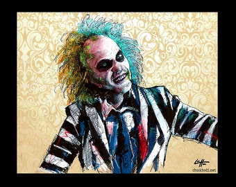 "Print 8x10"" - Its Showtime - Beetlejuice Horror Comedy Tim Burton Gothic Halloween Dark Art Funny Spooky Creepy Classic Portrait Pop Stripes"