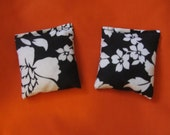 2  Black White Flowers Rice Bags - Nail Application Rice Bags - Hot or Cold Compress Rice Bags - Microwavable Rice Bags - Reusable Rice Bags