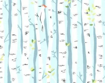 Michael Miller Backyard Baby BIRCH FOREST Aqua cotton fabric 1/2 yard