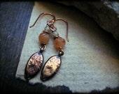 Organic earrings, Cast bronze Semiprecious gemstone Orange carved carnelian Copper wire - Pumpkin Seeds