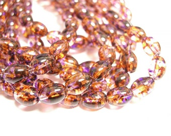 100pc 8x6mm Spray Painted Transparent Glass Bead-5789T