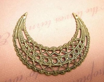 30pc antique bronze filigree moon wrap-w8213x3