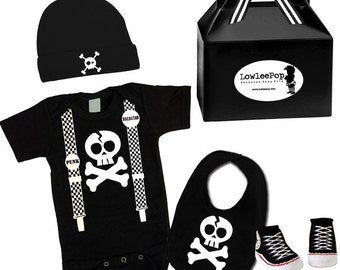 Baby Boy Rockstar Kit Skull & Suspenders black romper booties hat Bib