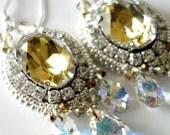 Rare Vintage Diorin Canary Yellow Swarovski Crystal Beaded Earrings, Rhinestone Chain, Silver Earrings, Crystal Pear Drops, Beaded Jewelry