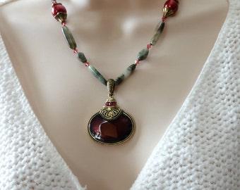 Maroon Enamel Pendant, Beaded Necklace, ON SALE Was 75 now 60, Seaweed Jasper, Matching Earrings, Glass Pearls, Beaded Jewelry