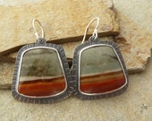 Jasper Earrings, Large Gemstone Earrings, Natural Stone, Statement Earrings, Textured Metal, Sterling Silver, Oxidized Silver, Scenic Jasper