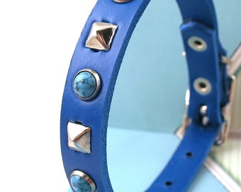 Royal Blue Leather Dog Collar with Turquoise Stones and Studs, Size XS to fit a 7-9in Neck, Tiny Dog Collar, Handmade in Seattle
