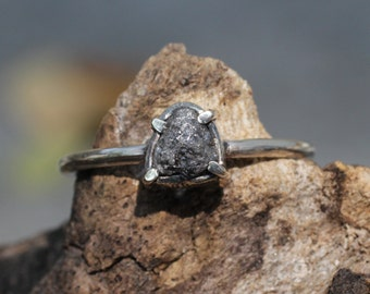 Sterling silver hand textured ring with genuine rough diamond