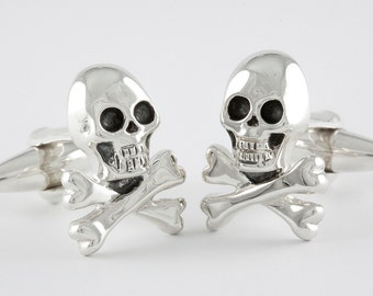 Big Skull And Bones Sterling Silver Cufflinks .925