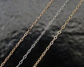 14K Solid Gold Cable Chain Choose 14k Yellow, White or Rose Gold