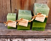Custom Set of Four Scented Square Pillar Candles