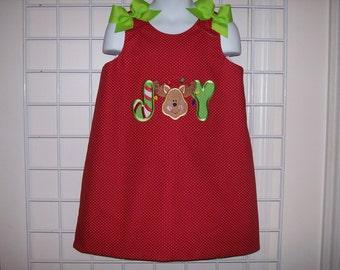JOY Reindeer Applique Christmas Holiday A-line Dress
