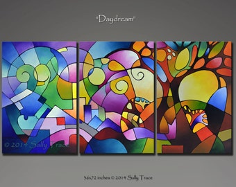 Original Abstract Painting, Original Acrylic Painting, Triptych Painting, Geometric Art, Abstract Landscape Painting 72x36 inches