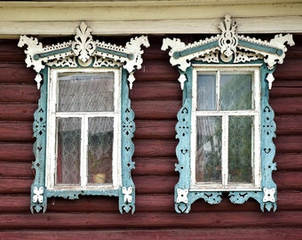 Decorative Russian Window Photography. Woodwork. Dacha, cabin. Ancient architecture. Blue and white. Horses. Russia.