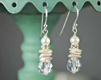 Pearl and Crystal Dangle Earrings, Freshwater Pearls, Sterling Silver, Beach Wedding, Vacation Jewelry, Simple Drop Earrings